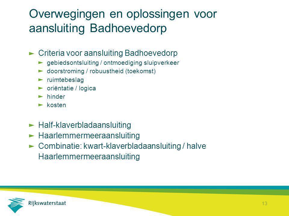 13 Overwegingen en oplossingen voor aansluiting Badhoevedorp Criteria voor aansluiting Badhoevedorp gebiedsontsluiting / ontmoediging sluipverkeer doo