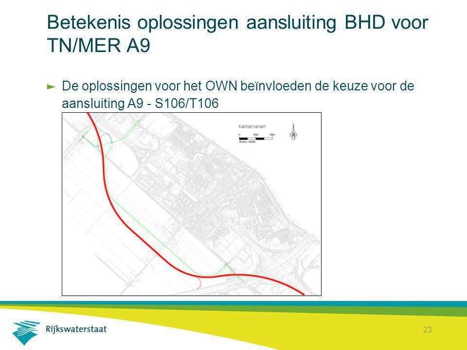 23 Betekenis oplossingen aansluiting BHD voor TN/MER A9 De oplossingen voor het OWN beïnvloeden de keuze voor de aansluiting A9 - S106/T106