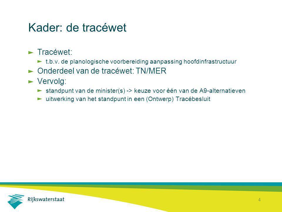 4 Kader: de tracéwet Tracéwet: t.b.v. de planologische voorbereiding aanpassing hoofdinfrastructuur Onderdeel van de tracéwet: TN/MER Vervolg: standpu