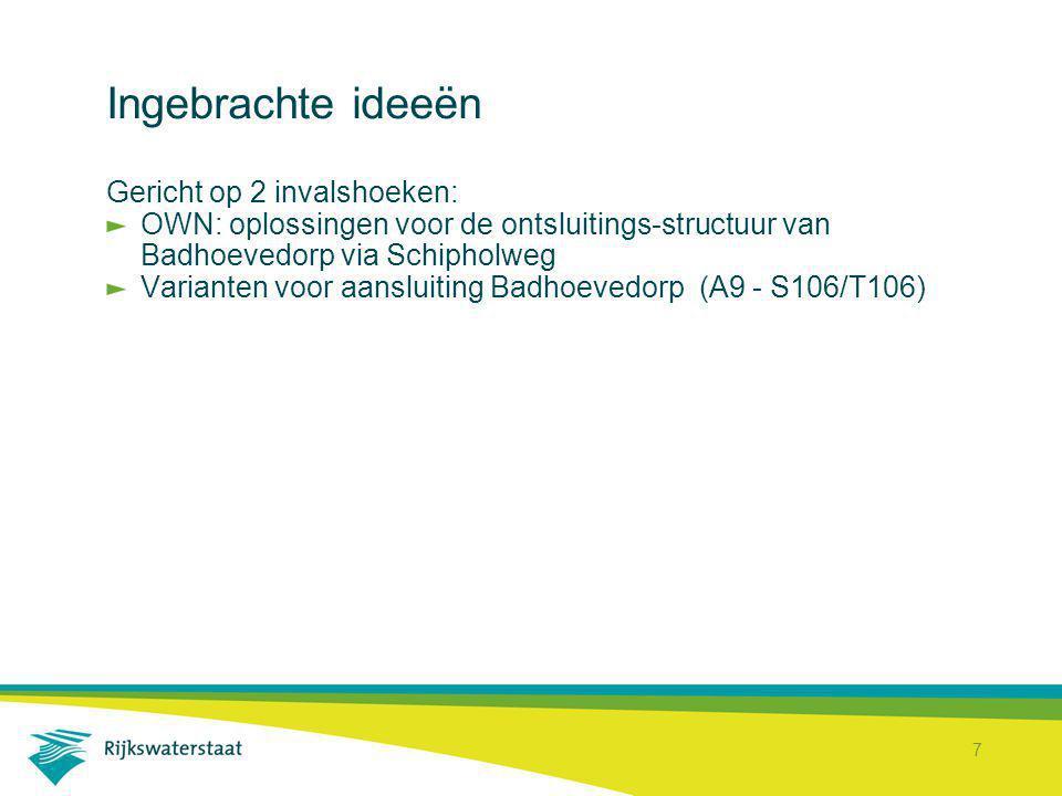 7 Ingebrachte ideeën Gericht op 2 invalshoeken: OWN: oplossingen voor de ontsluitings-structuur van Badhoevedorp via Schipholweg Varianten voor aanslu