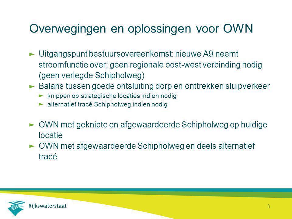 8 Overwegingen en oplossingen voor OWN Uitgangspunt bestuursovereenkomst: nieuwe A9 neemt stroomfunctie over; geen regionale oost-west verbinding nodi