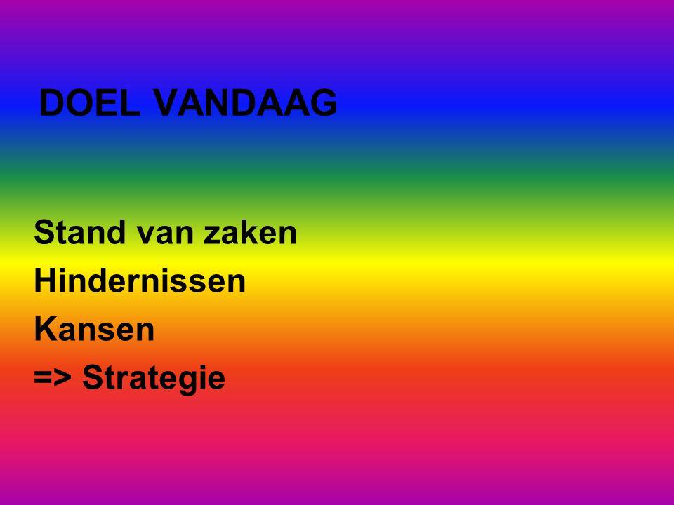 DOEL VANDAAG Stand van zaken Hindernissen Kansen => Strategie