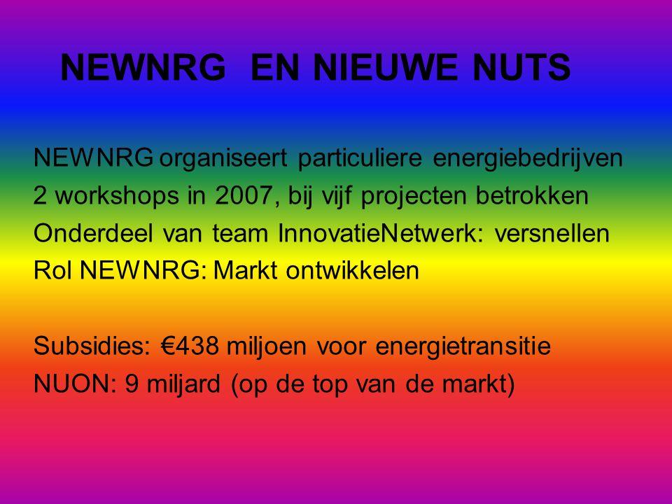 NEWNRG EN NIEUWE NUTS NEWNRG organiseert particuliere energiebedrijven 2 workshops in 2007, bij vijf projecten betrokken Onderdeel van team InnovatieNetwerk: versnellen Rol NEWNRG: Markt ontwikkelen Subsidies: €438 miljoen voor energietransitie NUON: 9 miljard (op de top van de markt)