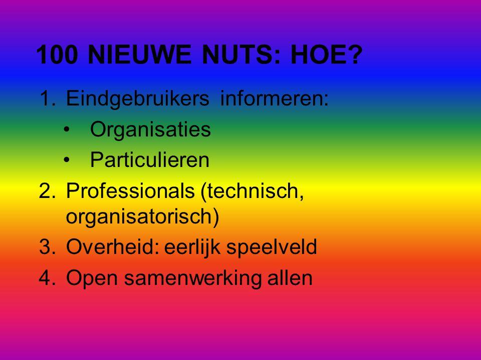 100 NIEUWE NUTS: HOE? 1.Eindgebruikers informeren: •Organisaties •Particulieren 2.Professionals (technisch, organisatorisch) 3.Overheid: eerlijk speel
