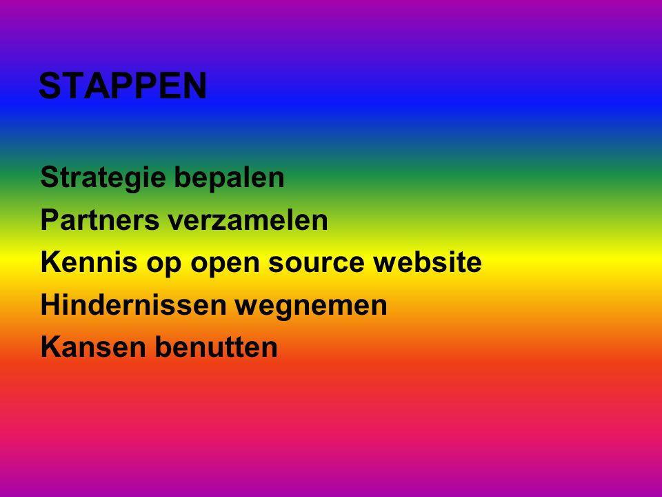 STAPPEN Strategie bepalen Partners verzamelen Kennis op open source website Hindernissen wegnemen Kansen benutten