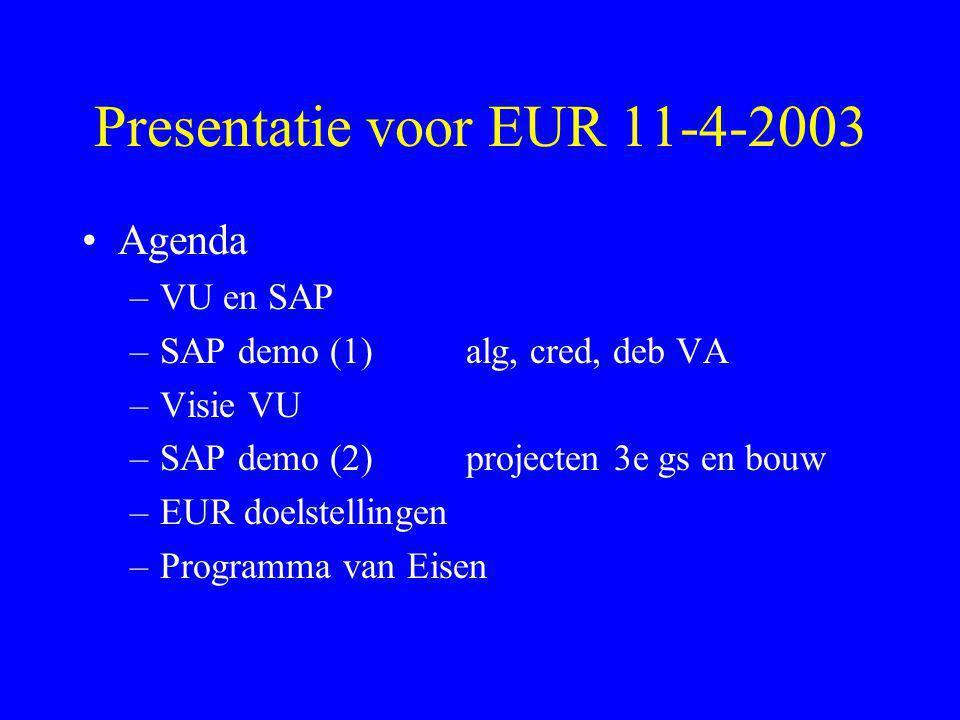 Presentatie voor EUR 11-4-2003 •Agenda –VU en SAP –SAP demo (1) alg, cred, deb VA –Visie VU –SAP demo (2) projecten 3e gs en bouw –EUR doelstellingen