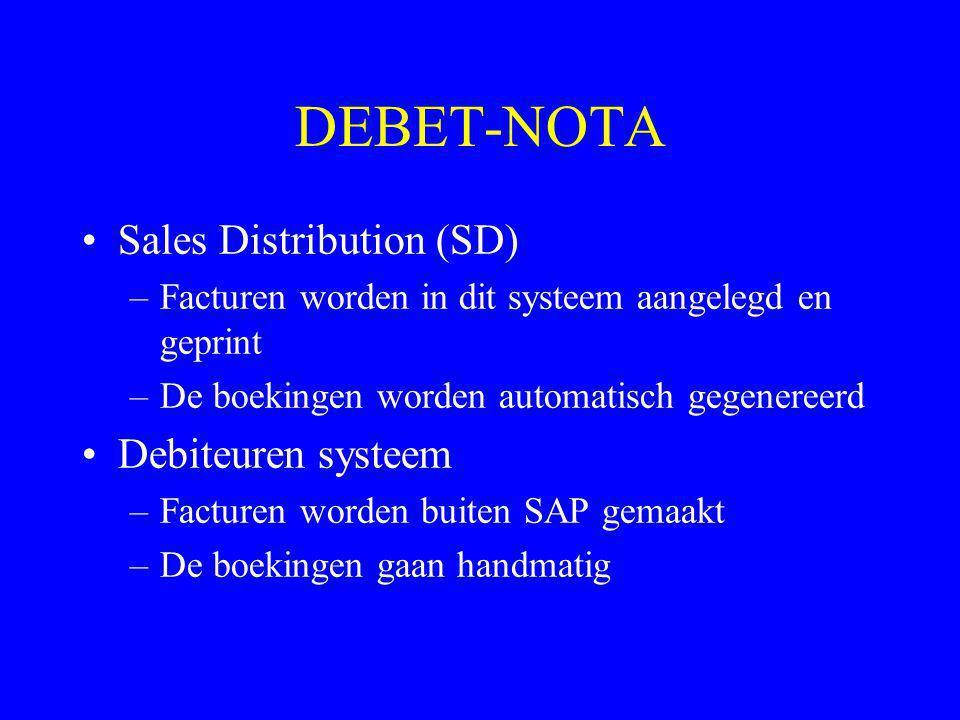 DEBET-NOTA •Sales Distribution (SD) –Facturen worden in dit systeem aangelegd en geprint –De boekingen worden automatisch gegenereerd •Debiteuren syst