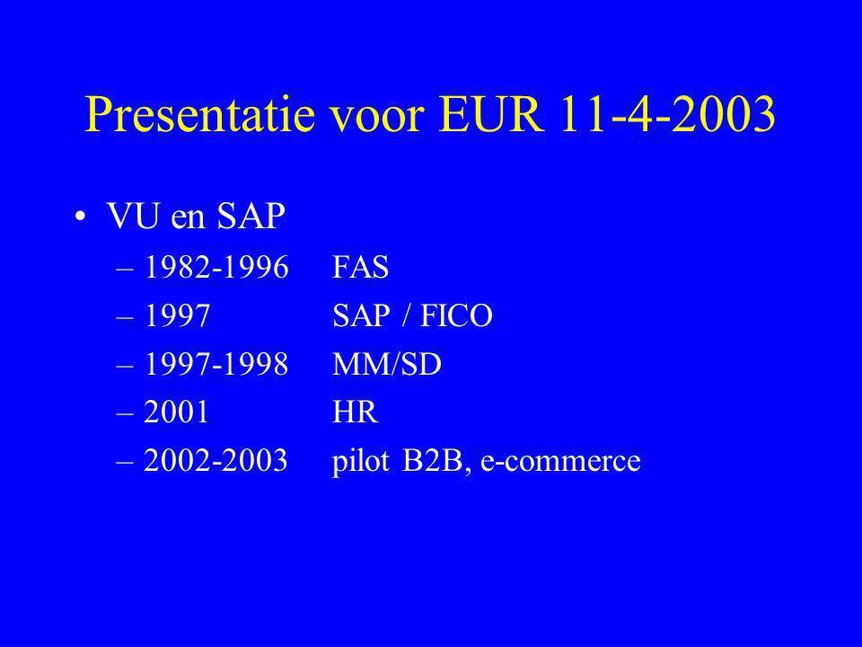 Presentatie voor EUR 11-4-2003 •VU en SAP –1982-1996 FAS –1997SAP / FICO –1997-1998MM/SD –2001HR –2002-2003pilot B2B, e-commerce