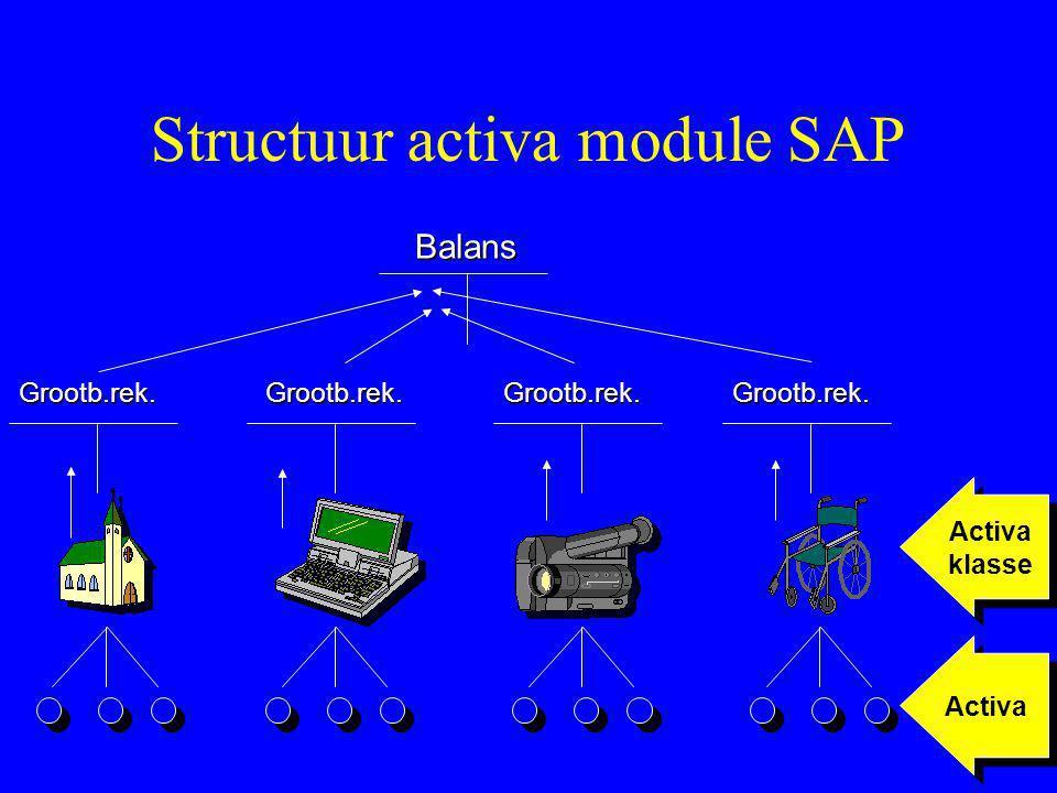 Structuur activa module SAP Balans Grootb.rek.Grootb.rek.Grootb.rek.Grootb.rek. Activa klasse Activa klasse Activa