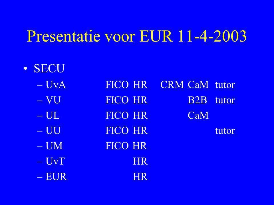 Presentatie voor EUR 11-4-2003 •SECU –UvAFICO HRCRMCaMtutor –VUFICOHRB2Btutor –ULFICOHRCaM –UUFICOHRtutor –UMFICO HR –UvTHR –EURHR