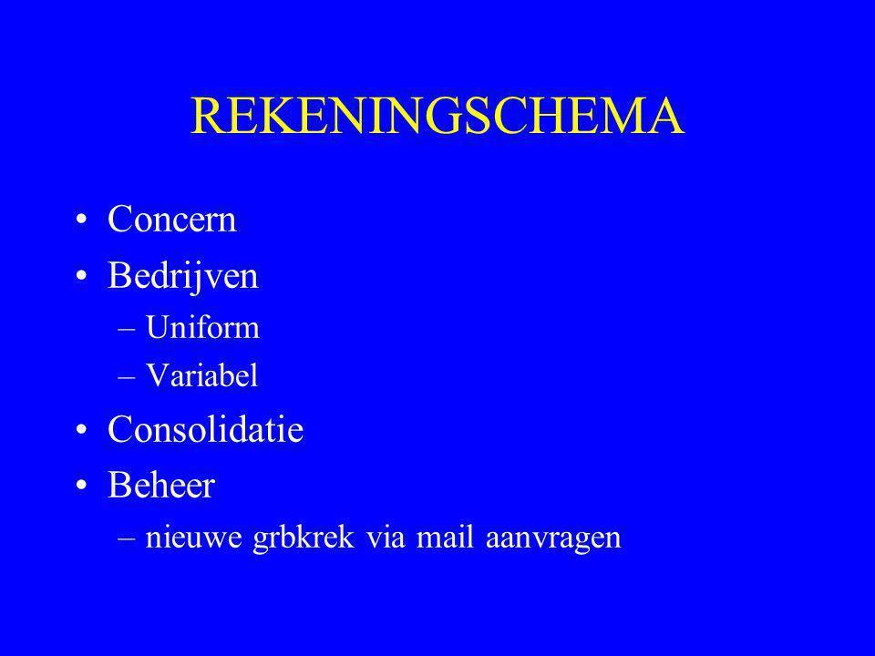 REKENINGSCHEMA •Concern •Bedrijven –Uniform –Variabel •Consolidatie •Beheer –nieuwe grbkrek via mail aanvragen