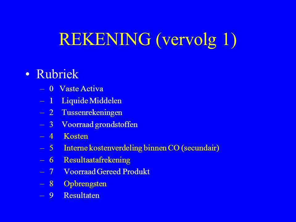 REKENING (vervolg 1) •Rubriek –0 Vaste Activa –1 Liquide Middelen –2 Tussenrekeningen –3 Voorraad grondstoffen –4 Kosten –5 Interne kostenverdeling bi