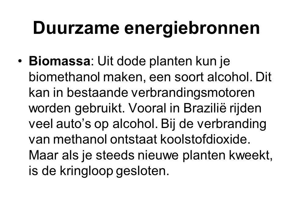 •Biomassa: Uit dode planten kun je biomethanol maken, een soort alcohol. Dit kan in bestaande verbrandingsmotoren worden gebruikt. Vooral in Brazilië