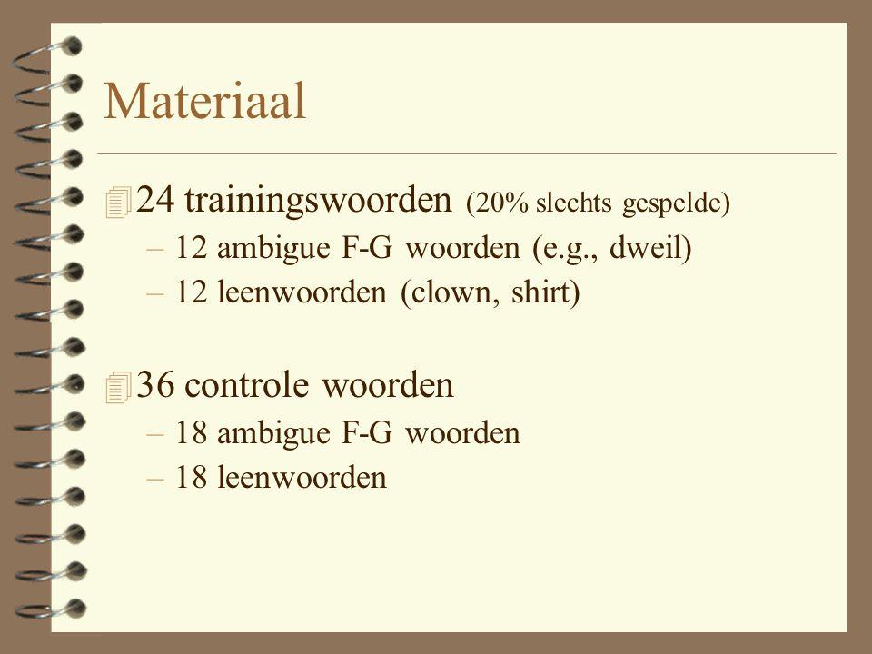 Materiaal 4 24 trainingswoorden (20% slechts gespelde) –12 ambigue F-G woorden (e.g., dweil) –12 leenwoorden (clown, shirt) 4 36 controle woorden –18 ambigue F-G woorden –18 leenwoorden