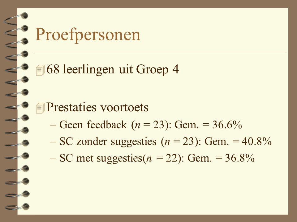 Proefpersonen 4 68 leerlingen uit Groep 4 4 Prestaties voortoets –Geen feedback (n = 23): Gem.