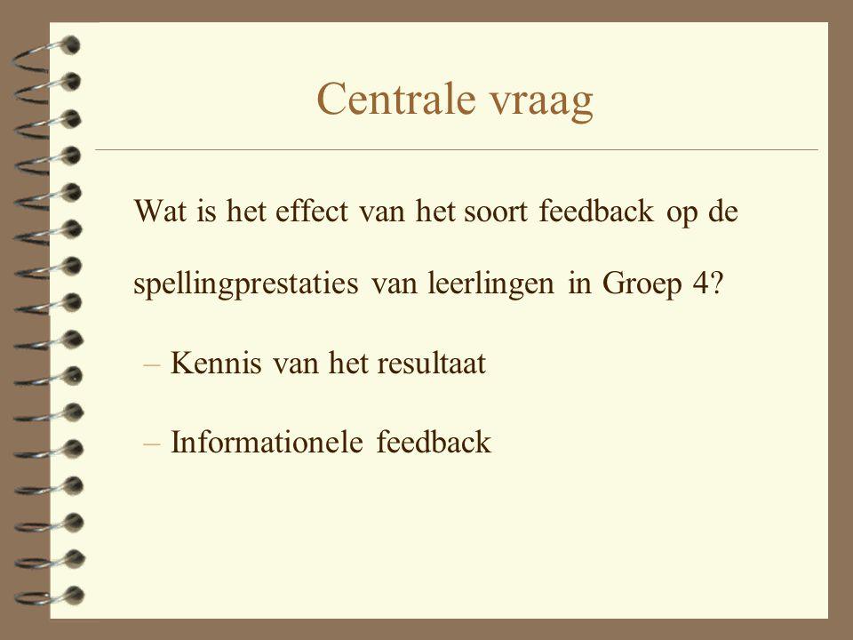 Centrale vraag Wat is het effect van het soort feedback op de spellingprestaties van leerlingen in Groep 4.