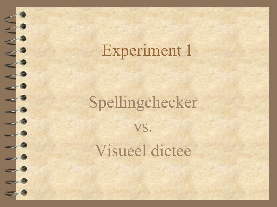 Materiaal & Procedure 4 Uit een voorstudie van 200 woorden –selectie van 100 woorden die gemiddelde spellingscores opleverden: 4 Spelling programma's –Spellingchecker –Visueel dictee