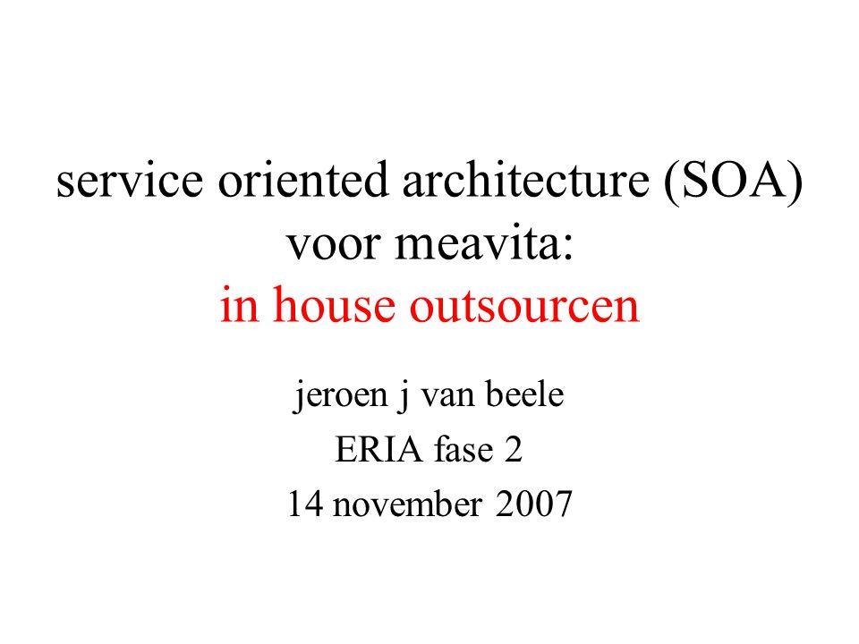 service oriented architecture (SOA) voor meavita: in house outsourcen jeroen j van beele ERIA fase 2 14 november 2007