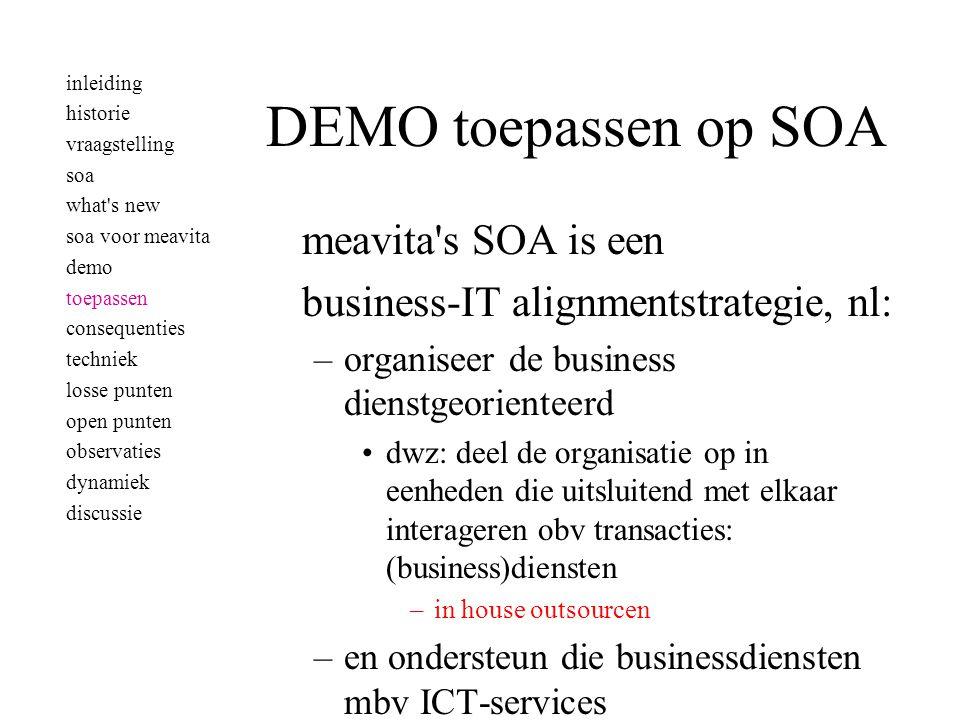 meavita's SOA is een business-IT alignmentstrategie, nl: –organiseer de business dienstgeorienteerd •dwz: deel de organisatie op in eenheden die uitsl