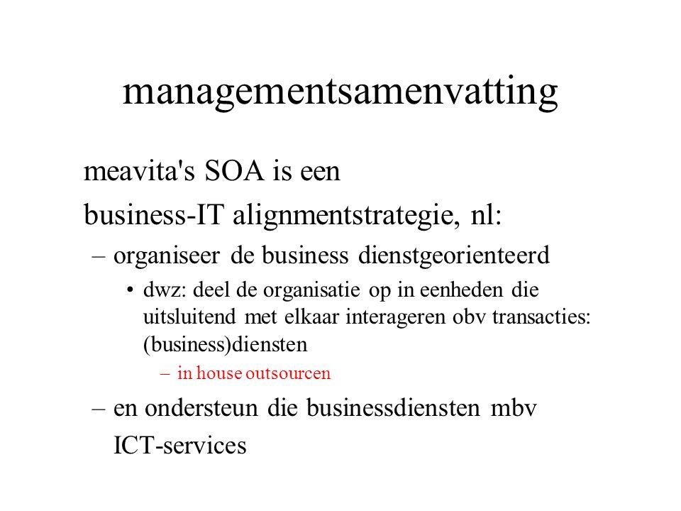 managementsamenvatting meavita's SOA is een business-IT alignmentstrategie, nl: –organiseer de business dienstgeorienteerd •dwz: deel de organisatie o