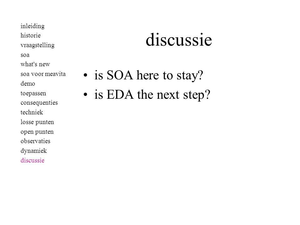 •is SOA here to stay? •is EDA the next step? inleiding historie vraagstelling soa what's new soa voor meavita demo toepassen consequenties techniek lo
