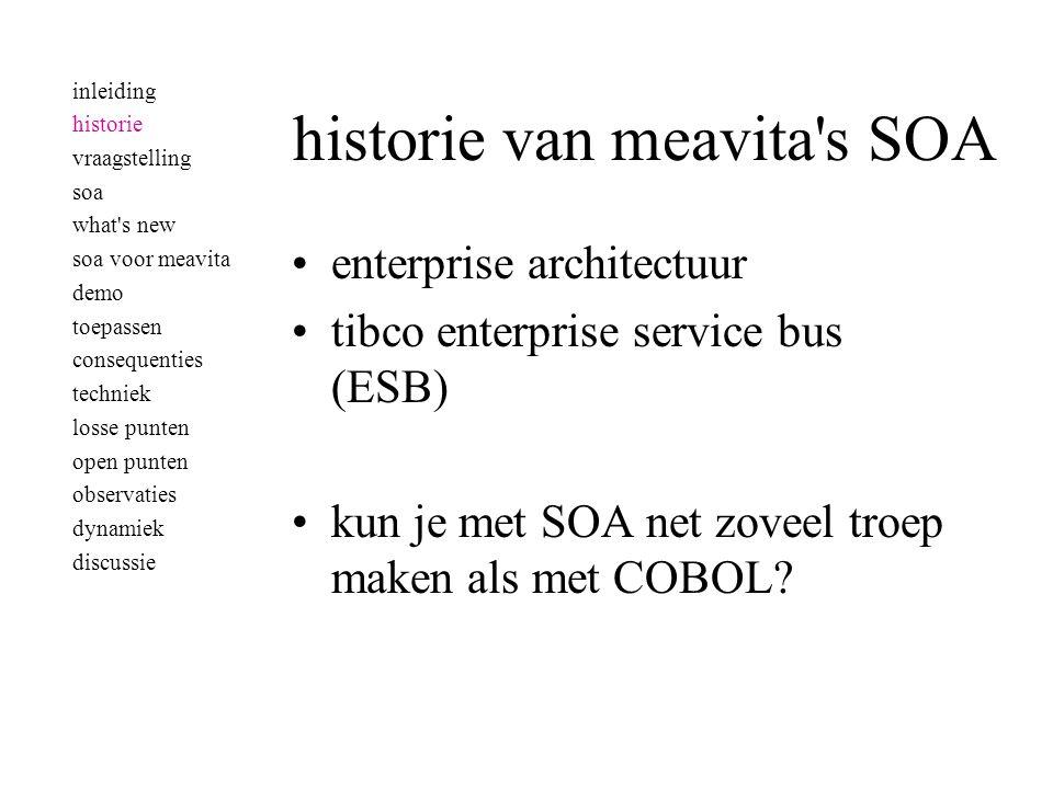 historie van meavita s SOA •enterprise architectuur •tibco enterprise service bus (ESB) •kun je met SOA net zoveel troep maken als met COBOL.