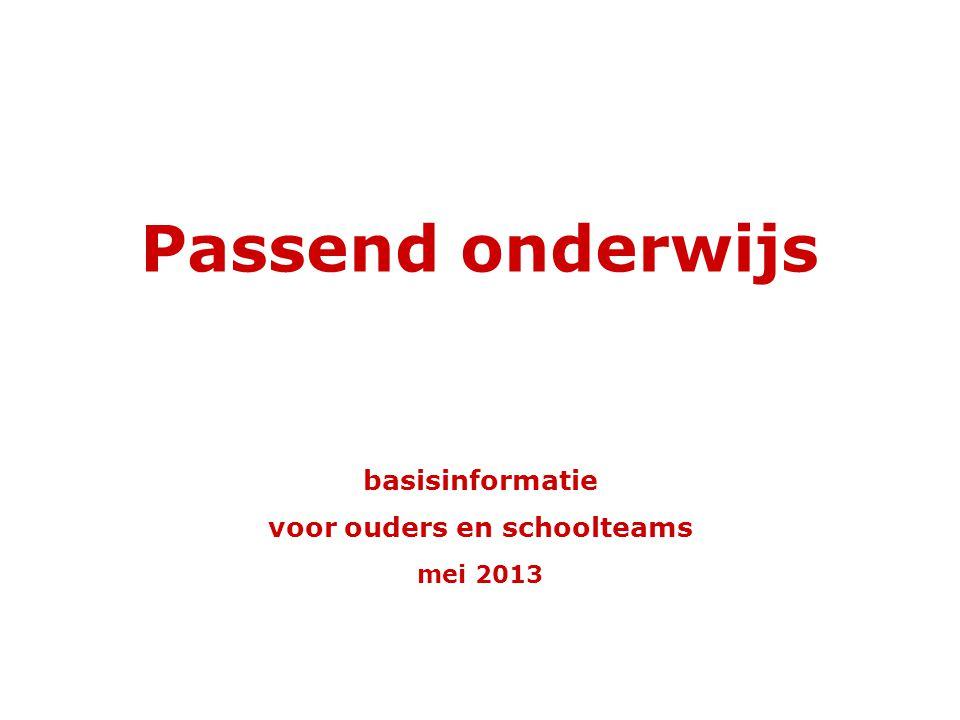 basisinformatie voor ouders en schoolteams mei 2013 Passend onderwijs