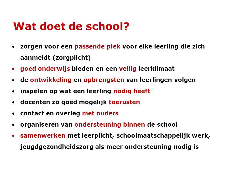 Wat doet de school? •zorgen voor een passende plek voor elke leerling die zich aanmeldt (zorgplicht) •goed onderwijs bieden en een veilig leerklimaat