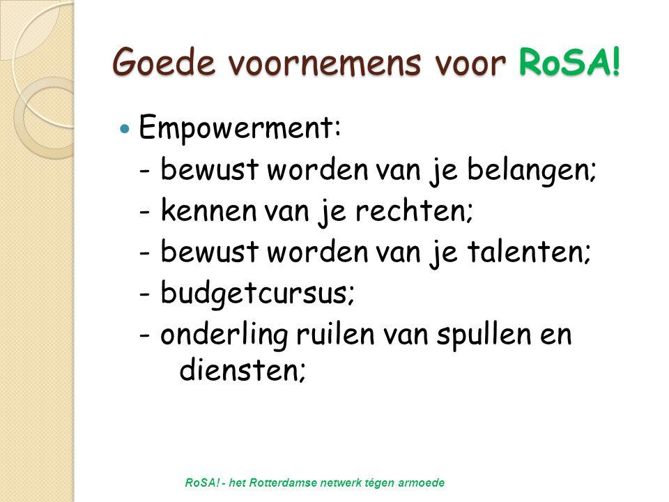Goede voornemens voor RoSA.