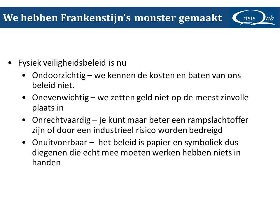 We hebben Frankenstijn's monster gemaakt •Fysiek veiligheidsbeleid is nu •Ondoorzichtig – we kennen de kosten en baten van ons beleid niet. •Onevenwic