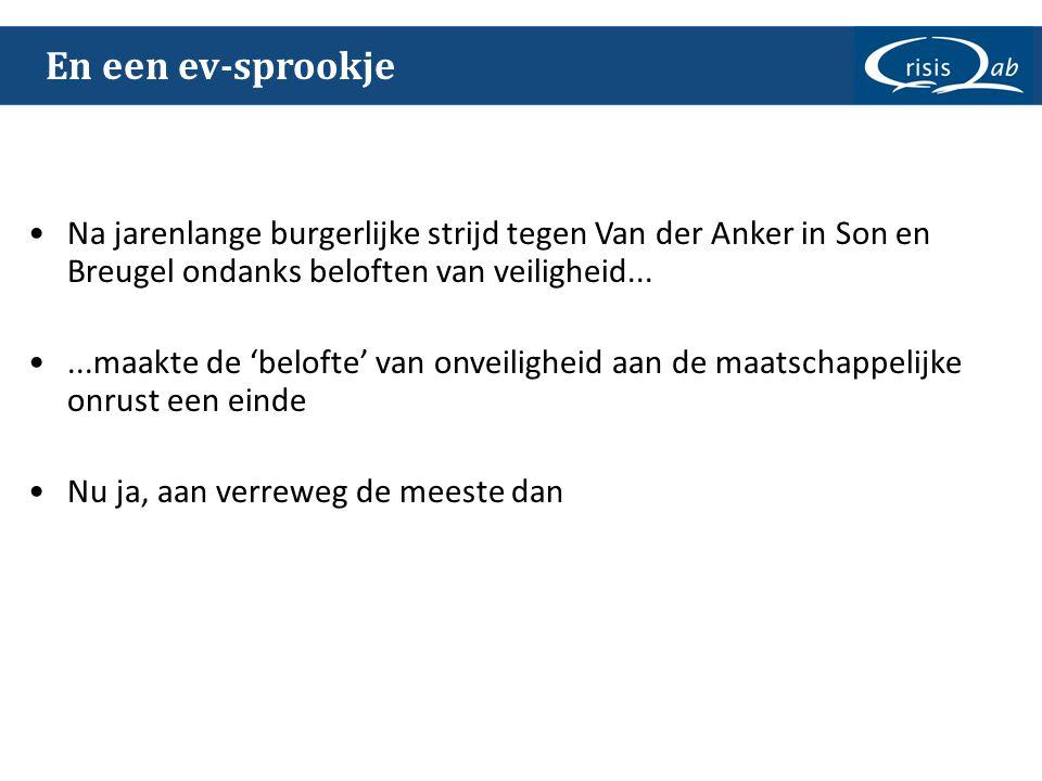 En een ev-sprookje •Na jarenlange burgerlijke strijd tegen Van der Anker in Son en Breugel ondanks beloften van veiligheid... •...maakte de 'belofte'