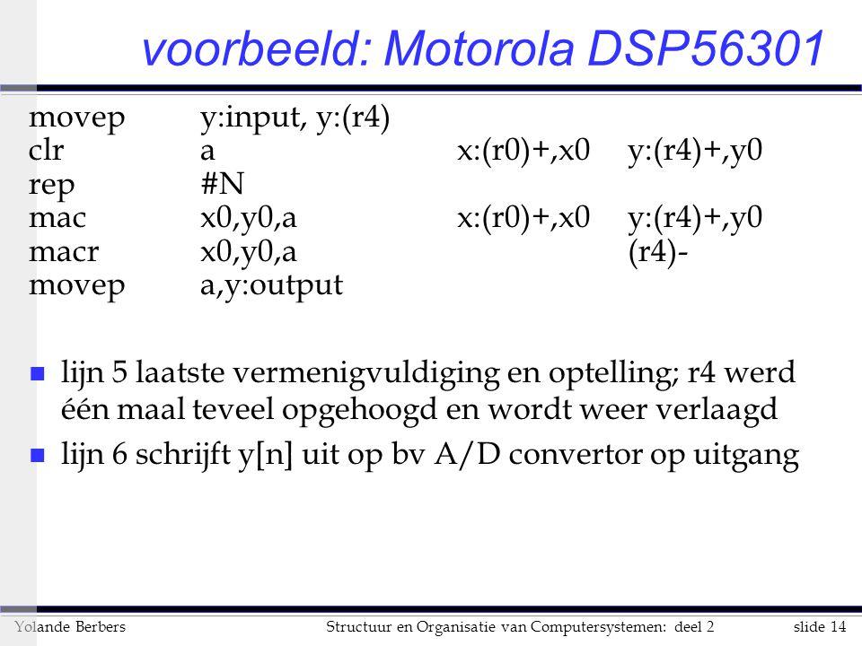 slide 14Structuur en Organisatie van Computersystemen: deel 2Yolande Berbers voorbeeld: Motorola DSP56301 movepy:input, y:(r4) clr ax:(r0)+,x0y:(r4)+,y0 rep#N macx0,y0,ax:(r0)+,x0y:(r4)+,y0 macrx0,y0,a(r4)- movepa,y:output n lijn 5 laatste vermenigvuldiging en optelling; r4 werd één maal teveel opgehoogd en wordt weer verlaagd n lijn 6 schrijft y[n] uit op bv A/D convertor op uitgang