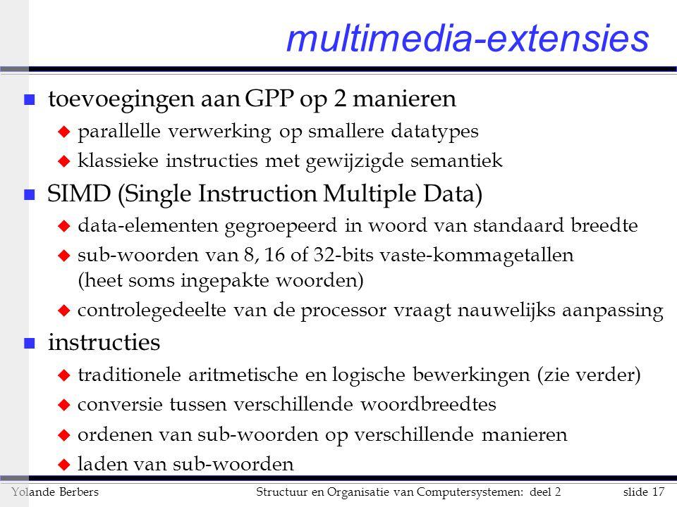 slide 17Structuur en Organisatie van Computersystemen: deel 2Yolande Berbers multimedia-extensies n toevoegingen aan GPP op 2 manieren u parallelle ve