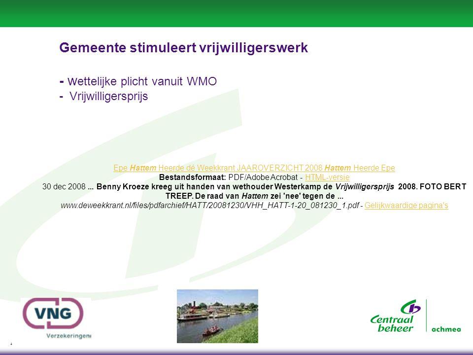 4 Gemeente stimuleert vrijwilligerswerk - w ettelijke plicht vanuit WMO - Vrijwilligersprijs Epe Hattem Heerde dé Weekkrant JAAROVERZICHT 2008 Hattem Heerde Epe Bestandsformaat: PDF/Adobe Acrobat - HTML-versie 30 dec 2008...