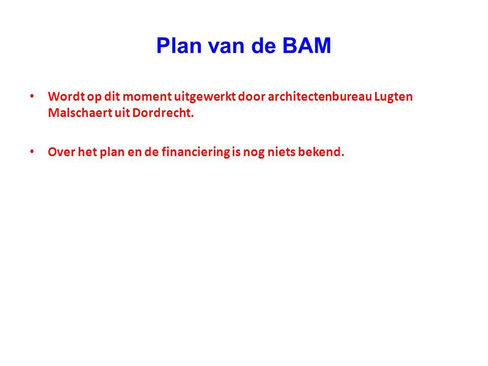 Plan van de BAM • Wordt op dit moment uitgewerkt door architectenbureau Lugten Malschaert uit Dordrecht. • Over het plan en de financiering is nog nie