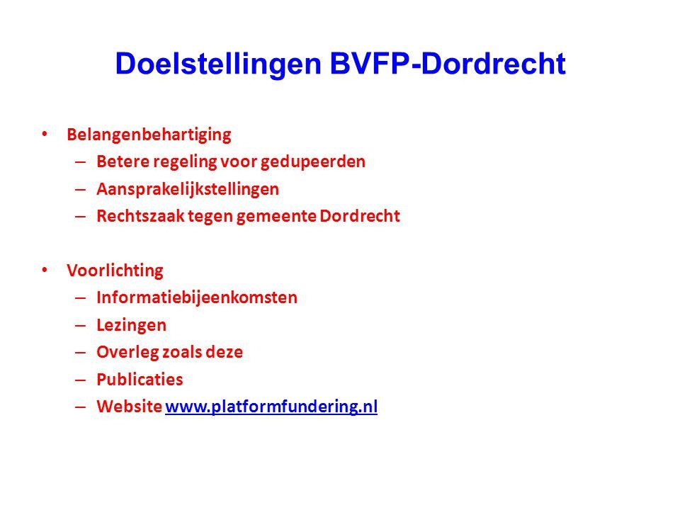 Doelstellingen BVFP-Dordrecht • Belangenbehartiging – Betere regeling voor gedupeerden – Aansprakelijkstellingen – Rechtszaak tegen gemeente Dordrecht