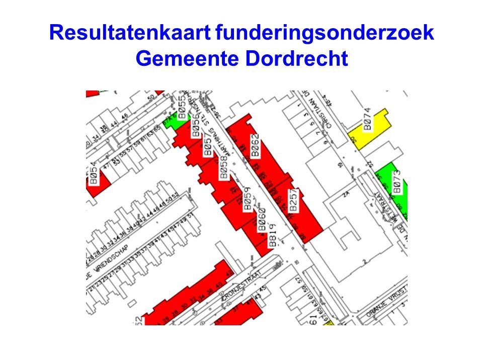 Resultatenkaart funderingsonderzoek Gemeente Dordrecht