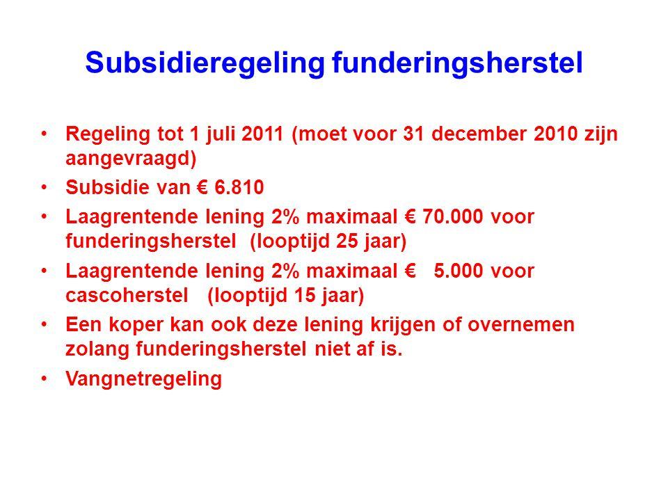 Subsidieregeling funderingsherstel •Regeling tot 1 juli 2011 (moet voor 31 december 2010 zijn aangevraagd) •Subsidie van € 6.810 •Laagrentende lening