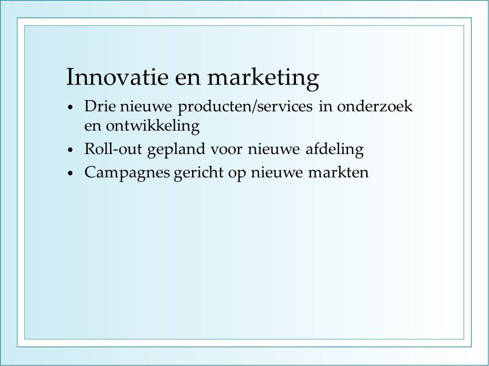 Innovatie en marketing • Drie nieuwe producten/services in onderzoek en ontwikkeling • Roll-out gepland voor nieuwe afdeling • Campagnes gericht op nieuwe markten