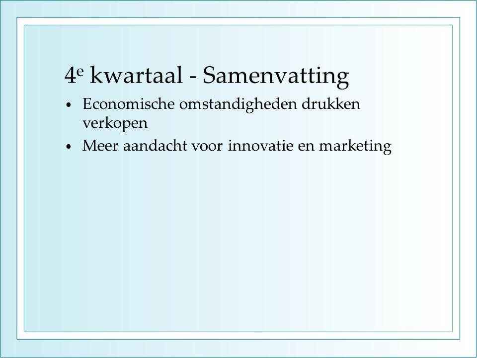 4 e kwartaal - Samenvatting • Economische omstandigheden drukken verkopen • Meer aandacht voor innovatie en marketing