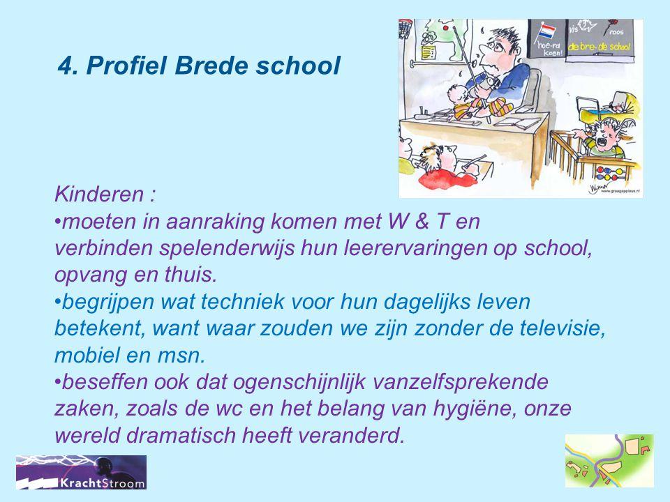 4. Profiel Brede school Kinderen : •moeten in aanraking komen met W & T en verbinden spelenderwijs hun leerervaringen op school, opvang en thuis. •beg