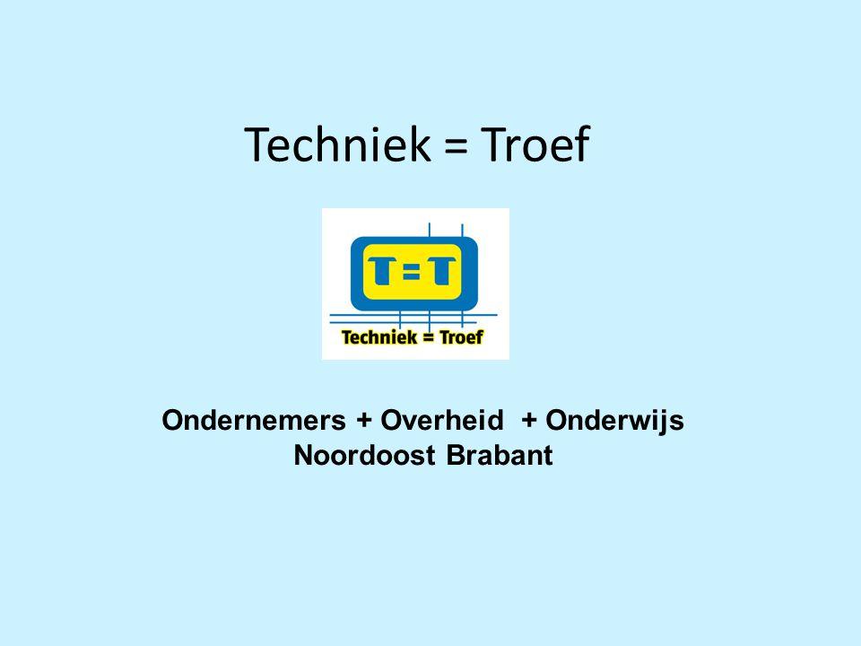 Techniek = Troef Ondernemers + Overheid + Onderwijs Noordoost Brabant