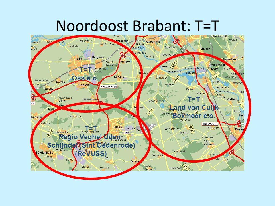 Noordoost Brabant: T=T T=T Regio Veghel Uden Schijndel (Sint Oedenrode) (ReVUSS) T=T Oss e.o. T=T Land van Cuijk Boxmeer e.o.
