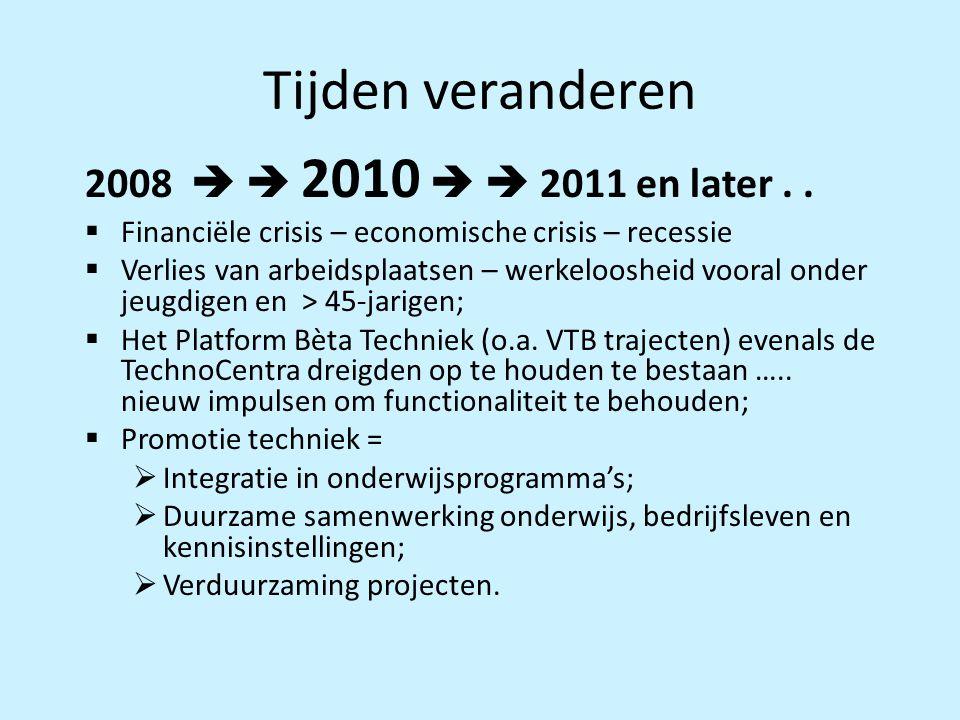 Tijden veranderen 2008   2010   2011 en later..  Financiële crisis – economische crisis – recessie  Verlies van arbeidsplaatsen – werkeloosheid