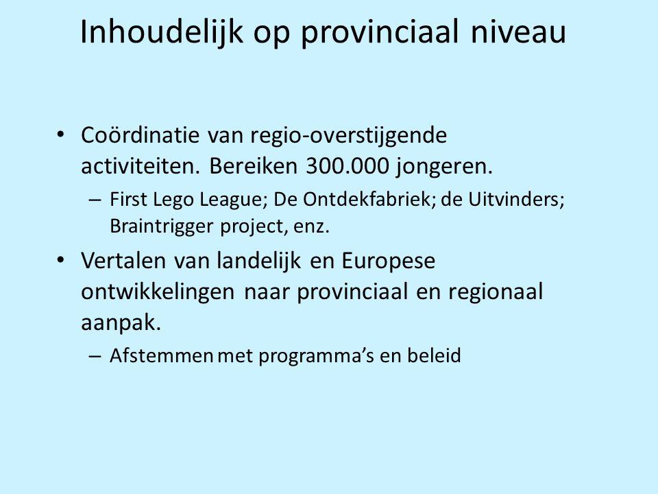 Inhoudelijk op provinciaal niveau • Coördinatie van regio-overstijgende activiteiten. Bereiken 300.000 jongeren. – First Lego League; De Ontdekfabriek
