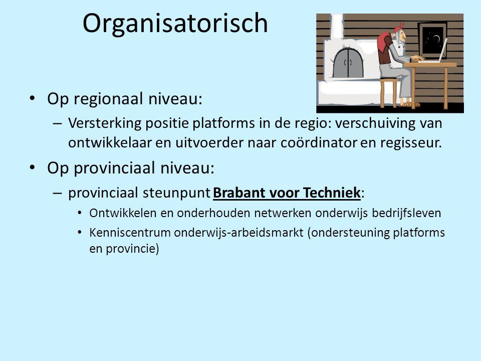 Organisatorisch • Op regionaal niveau: – Versterking positie platforms in de regio: verschuiving van ontwikkelaar en uitvoerder naar coördinator en re