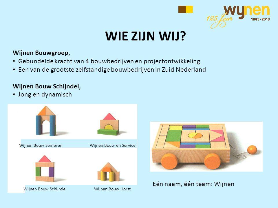 Eén naam, één team: Wijnen Wijnen Bouwgroep, • Gebundelde kracht van 4 bouwbedrijven en projectontwikkeling • Een van de grootste zelfstandige bouwbed