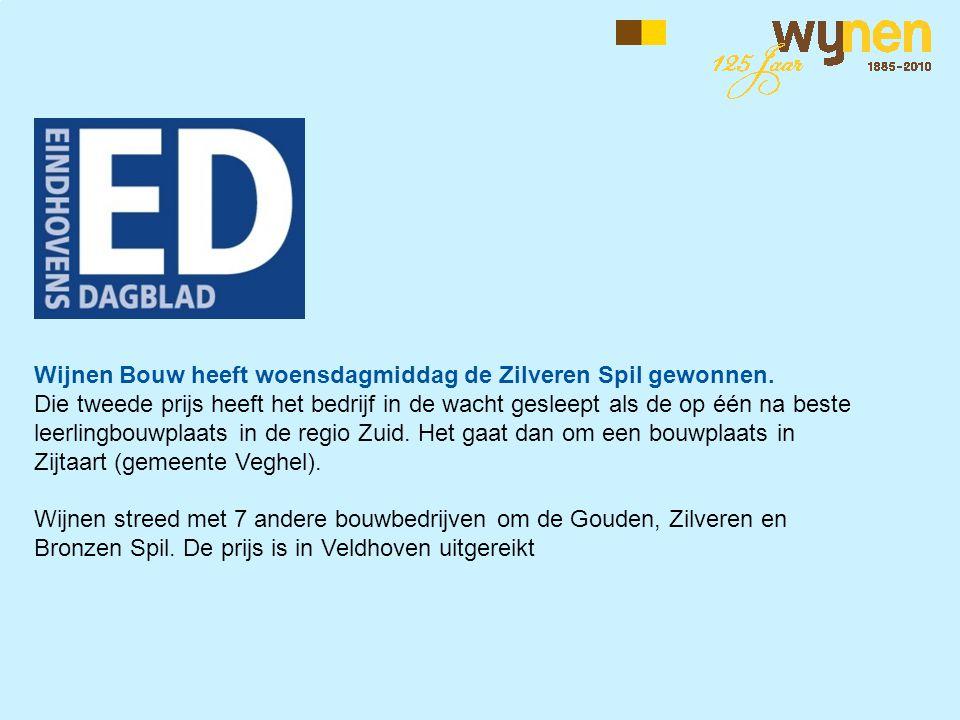 Wijnen Bouw heeft woensdagmiddag de Zilveren Spil gewonnen. Die tweede prijs heeft het bedrijf in de wacht gesleept als de op één na beste leerlingbou