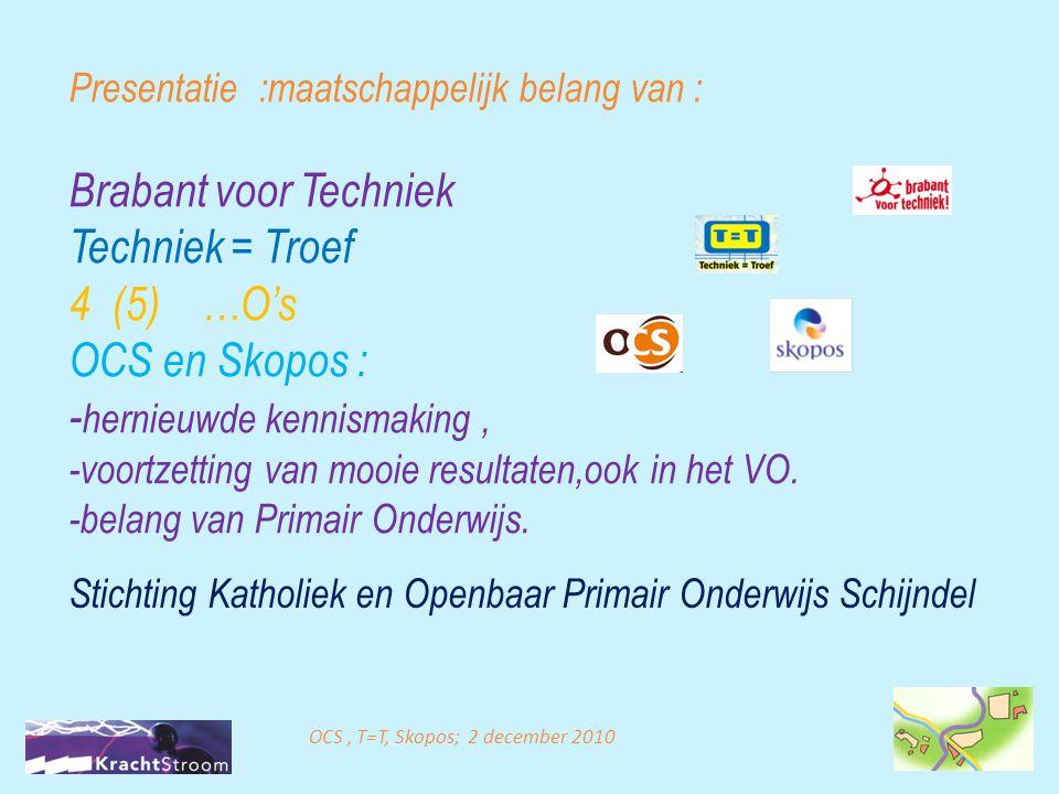 Presentatie :maatschappelijk belang van : Brabant voor Techniek Techniek = Troef 4 (5) …O's OCS en Skopos : - hernieuwde kennismaking, -voortzetting v
