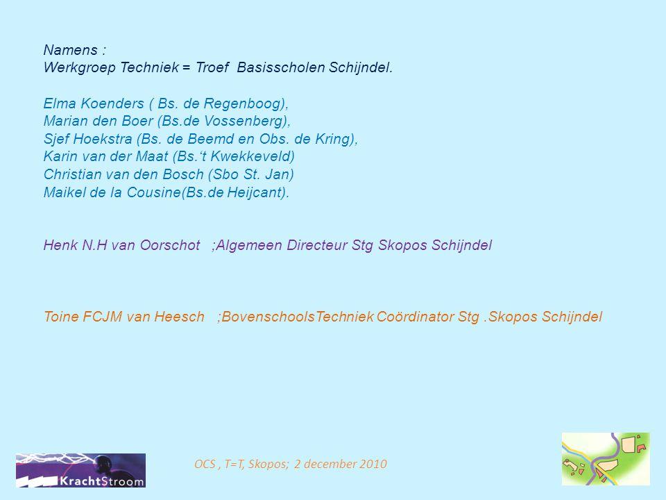 OCS, T=T, Skopos; 2 december 2010 Namens : Werkgroep Techniek = Troef Basisscholen Schijndel. Elma Koenders ( Bs. de Regenboog), Marian den Boer (Bs.d